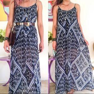 Express Blue Ikat Print Maxi Sundress Tent Dress